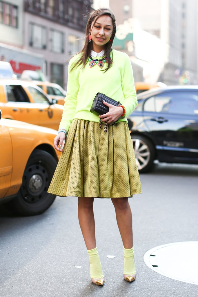 A lesson in monochromatic dressing in bright shades of citron.