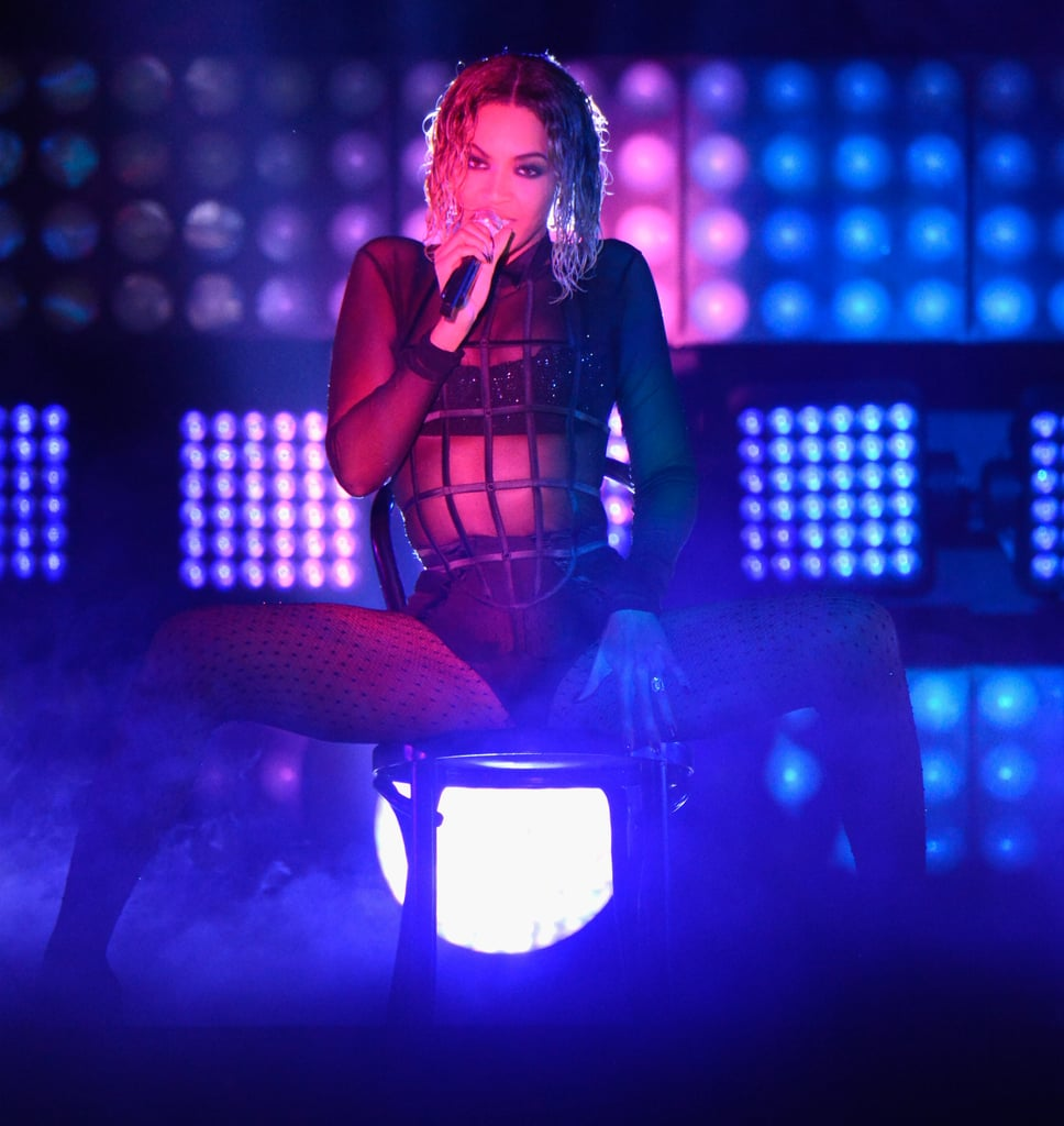 Beyoncé opened the show with a sexy performance.