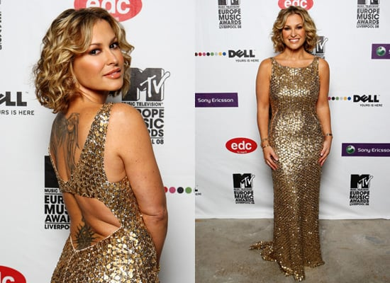 Anastacia in Gold Dress at MTV Europe Music Awards 2008 in Liverpool
