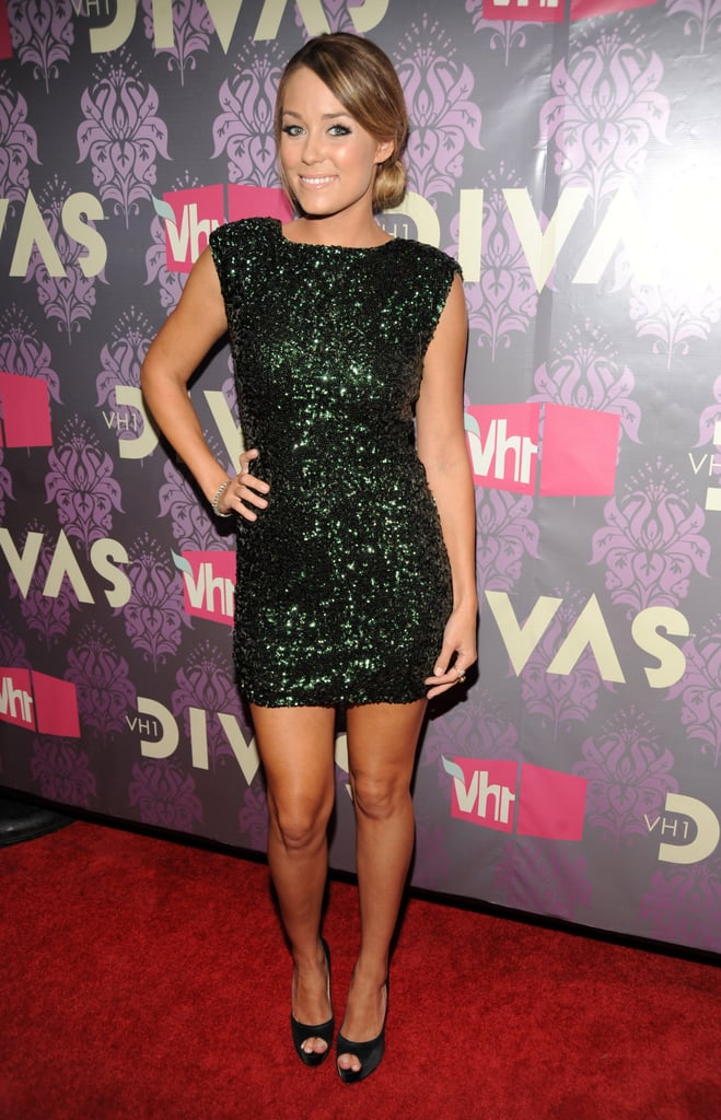 LC sparkled in this green sequined Alice + Olivia minidress in 2009. Lesson from Lauren: for an updated party look, swap your basic black sequins for a gem hue.