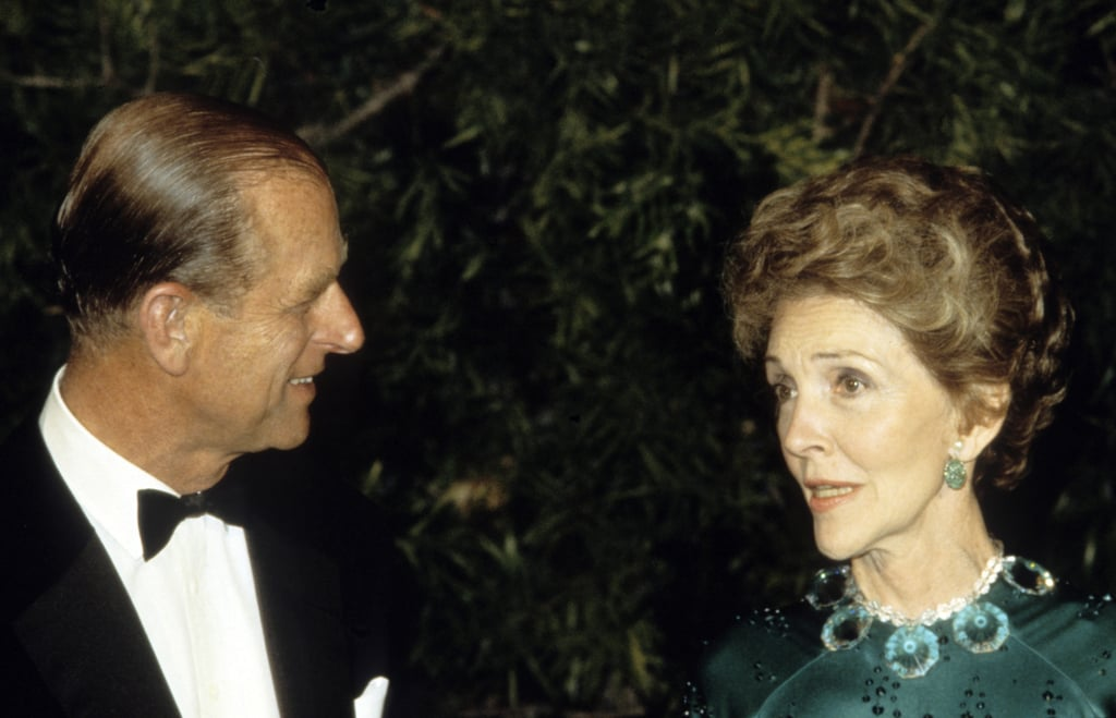 Prince Philip chatted with Nancy Reagan during a banquet on March 5, 1983, in San Francisco.