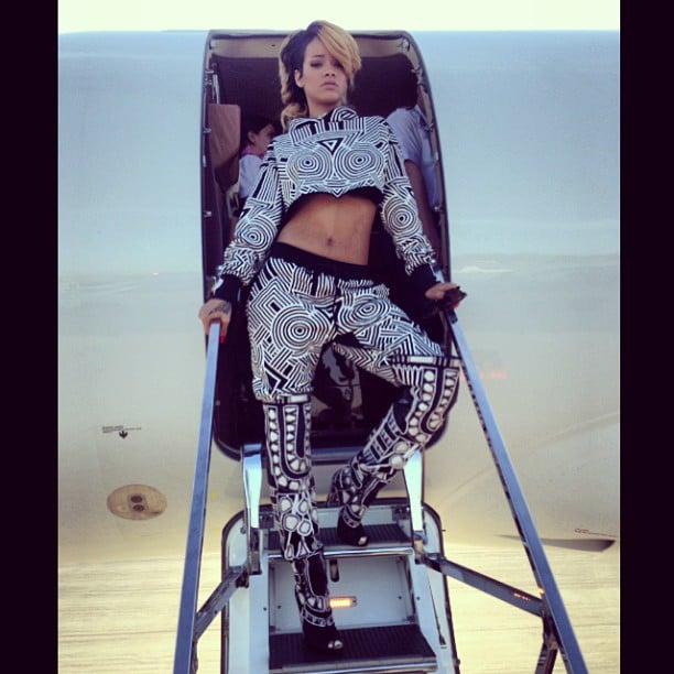 Rihanna struck her signature badass pose while getting off her private jet upon landing in Poland. Source: Instagram user badgalriri