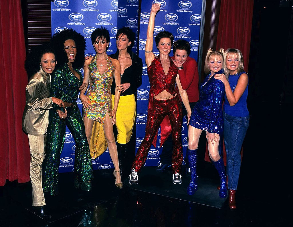 The Spice Girls cosied up to their wax figures at London's The Rock Circus in December 1997.