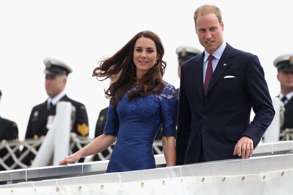 Prince William and Kate Middleton made their way off the ship.