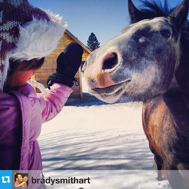 Harper Smith made a new friend on her mom's set in Canada. Source: Instagram user tathiessen