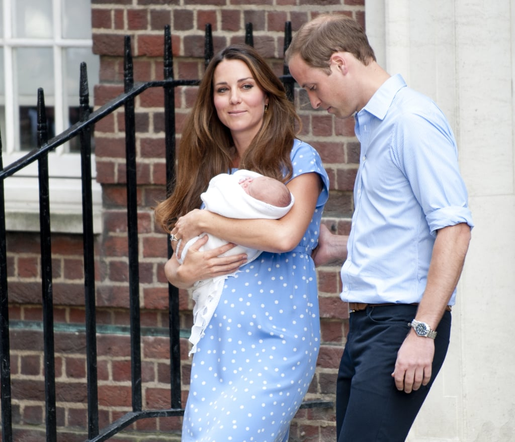 Prince William had a hand on Kate Middleton's back when they left St. Mary's Hospital in London with the royal baby.