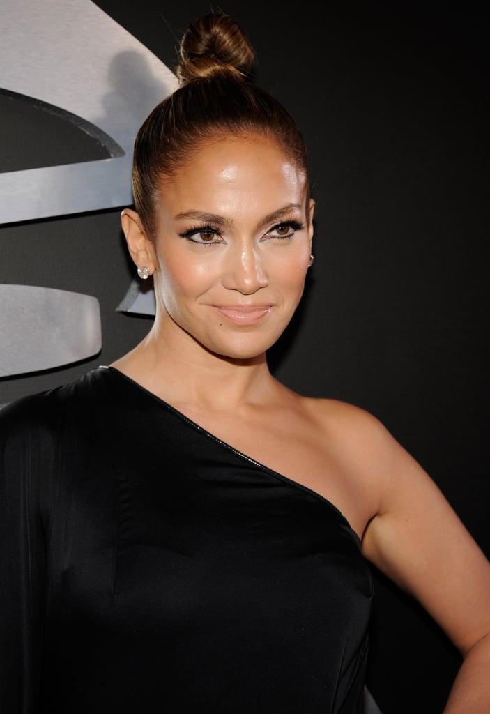 Jennifer Lopez glowed on the Grammys red carpet.