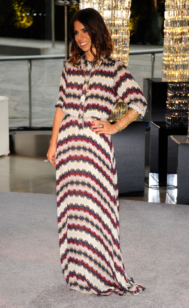 NAHM designer Ally Hilfiger attended the event in a zigzag-print shirtdress, arriving on the arm of her father, Tommy.