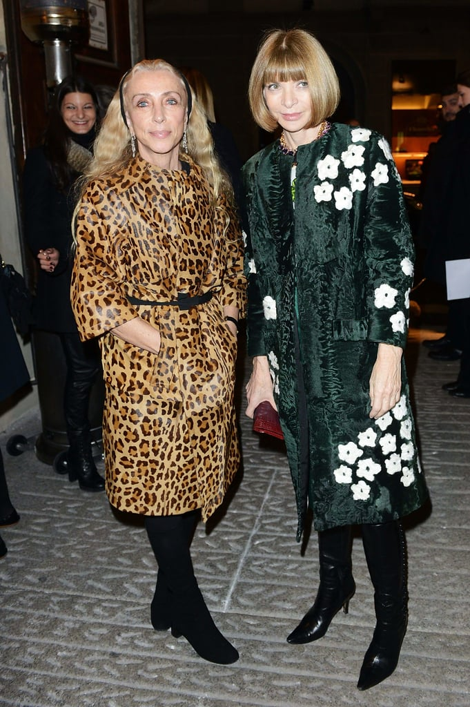 Anna Wintour and Vogue Italia's editor-in-chief Franca Sozzani talked fashion in equally bold coats at the Vogue Talents soiree during MFW.
