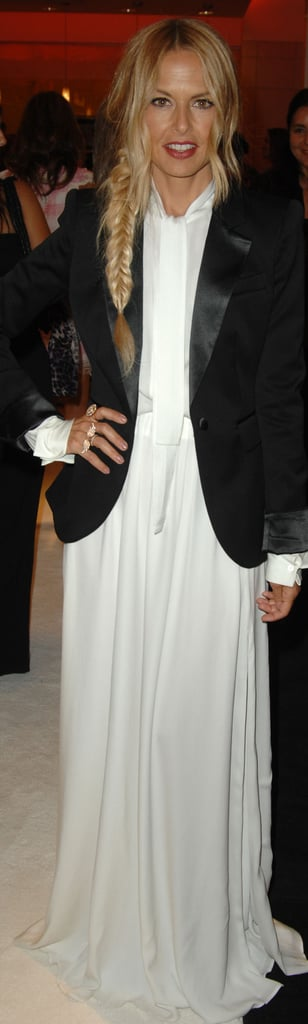 Rachel Zoe wore a white dress from her Spring collection and a tuxedo jacket from Fall