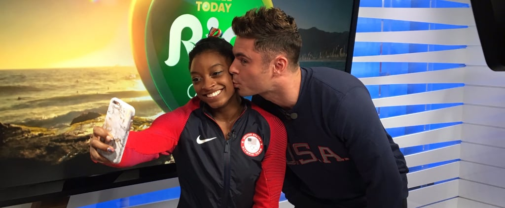 Simone Biles Finally Gets a Kiss From Her Longtime Crush, Zac Efron