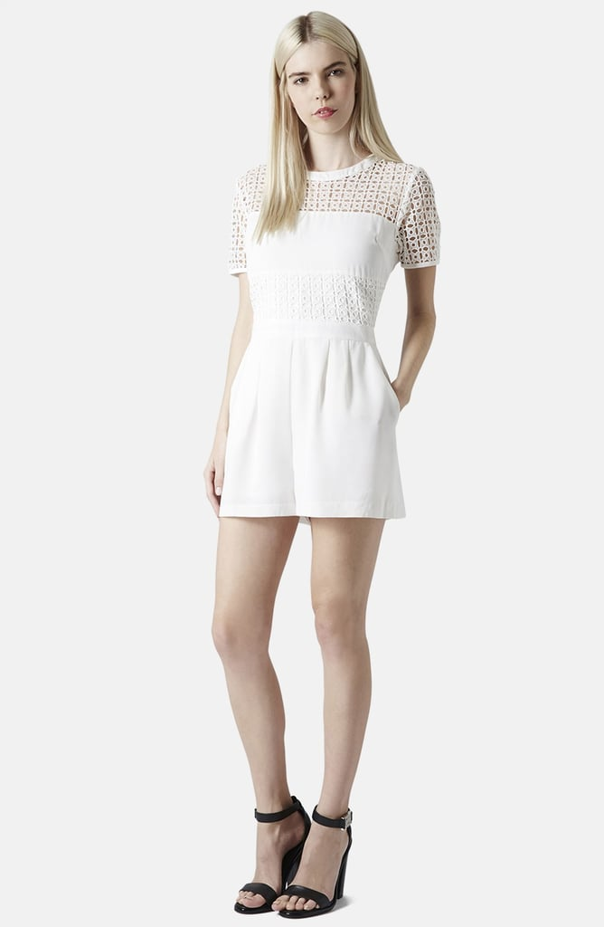 Topshop Eyelet Panel Short Sleeve Romper