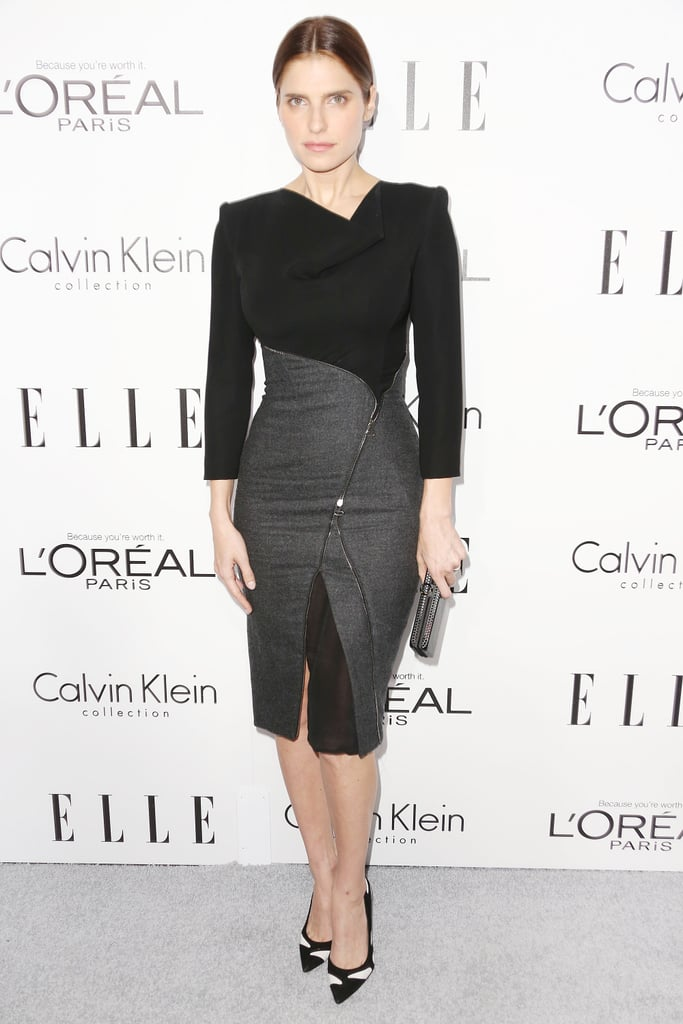 Lake Bell expertly contoured her curves in Altuzarra's zipper-embellished wool dress at the Elle Women in Hollywood event.