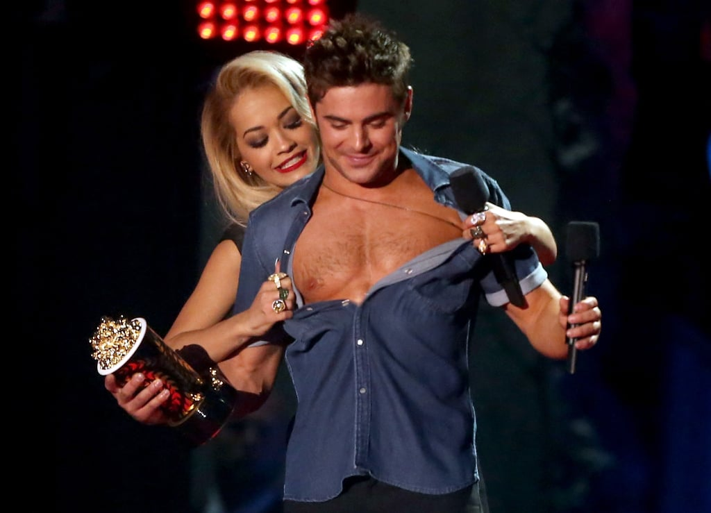 Rita Ora ripped off Zac Efron's shirt when he won best shirtless performance.