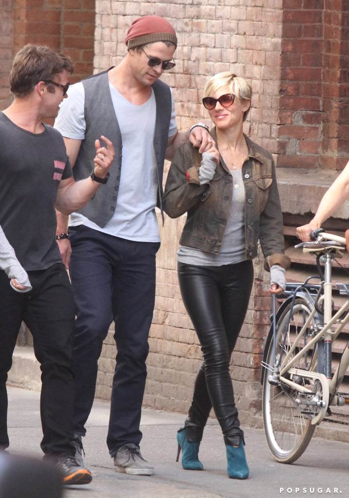 Chris Hemsworth and Elsa Pataky held hands while walking with Chris's brother Luke in NYC.