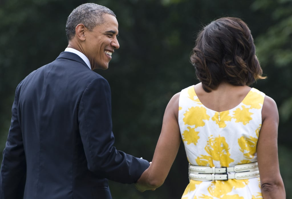 The Obamas headed to Marine One on Saturday.