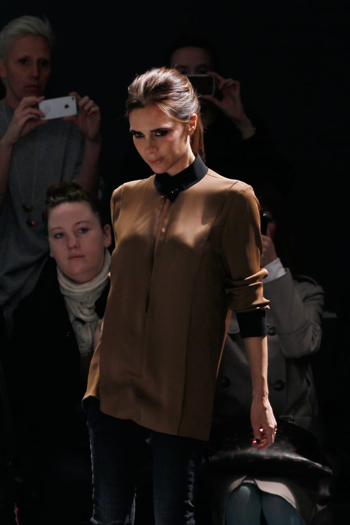 Victoria Beckham walked the runway after her successful Tuesday show in NYC.
