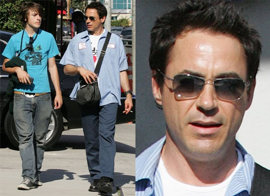 Iron Man aka Robert Downey Jr Out With Son Indio Dressed in Batman Printed Clothes