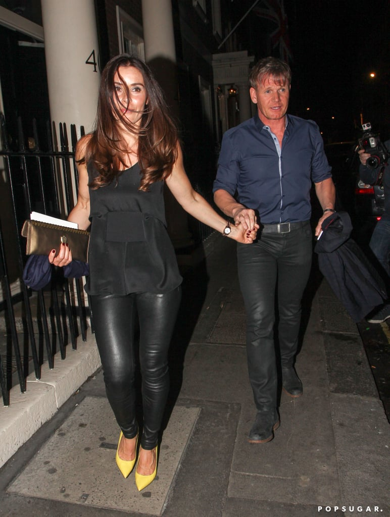 Gordon Ramsay and his wife, Tana, held hands as they left the party.