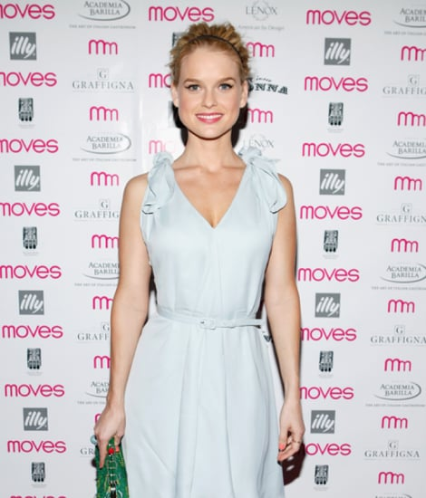 Alice Eve Light-Blue Dress Green Clutch