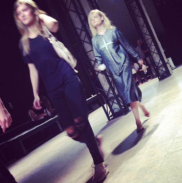 Oh, how we love you, Hanne. During rehearsals at Zadig & Voltaire, Hanne Gaby Odiele carried an unexpected accessory: a steaming cup of espresso. Source: Instagram user popsugarfashion