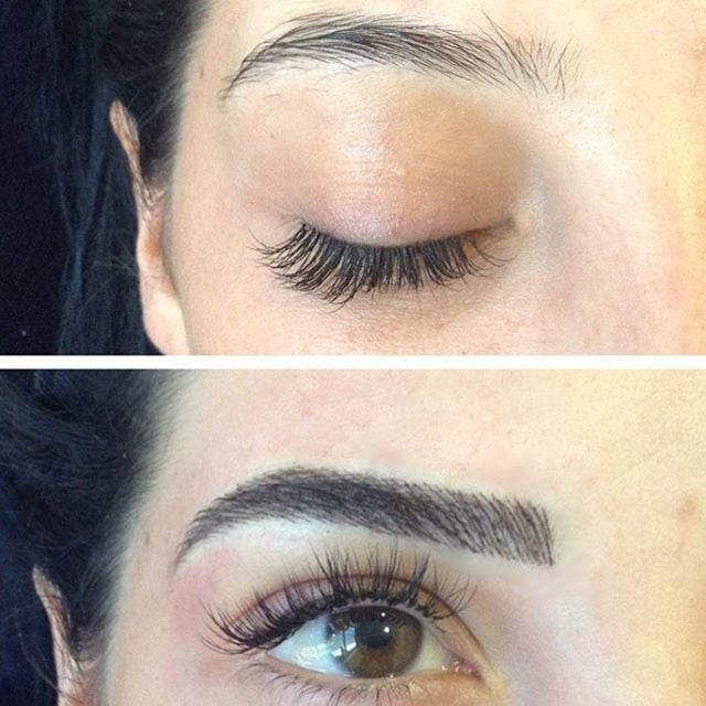 Before and after microblading eyebrow tattoos popsugar for Best eyebrow tattoo san diego