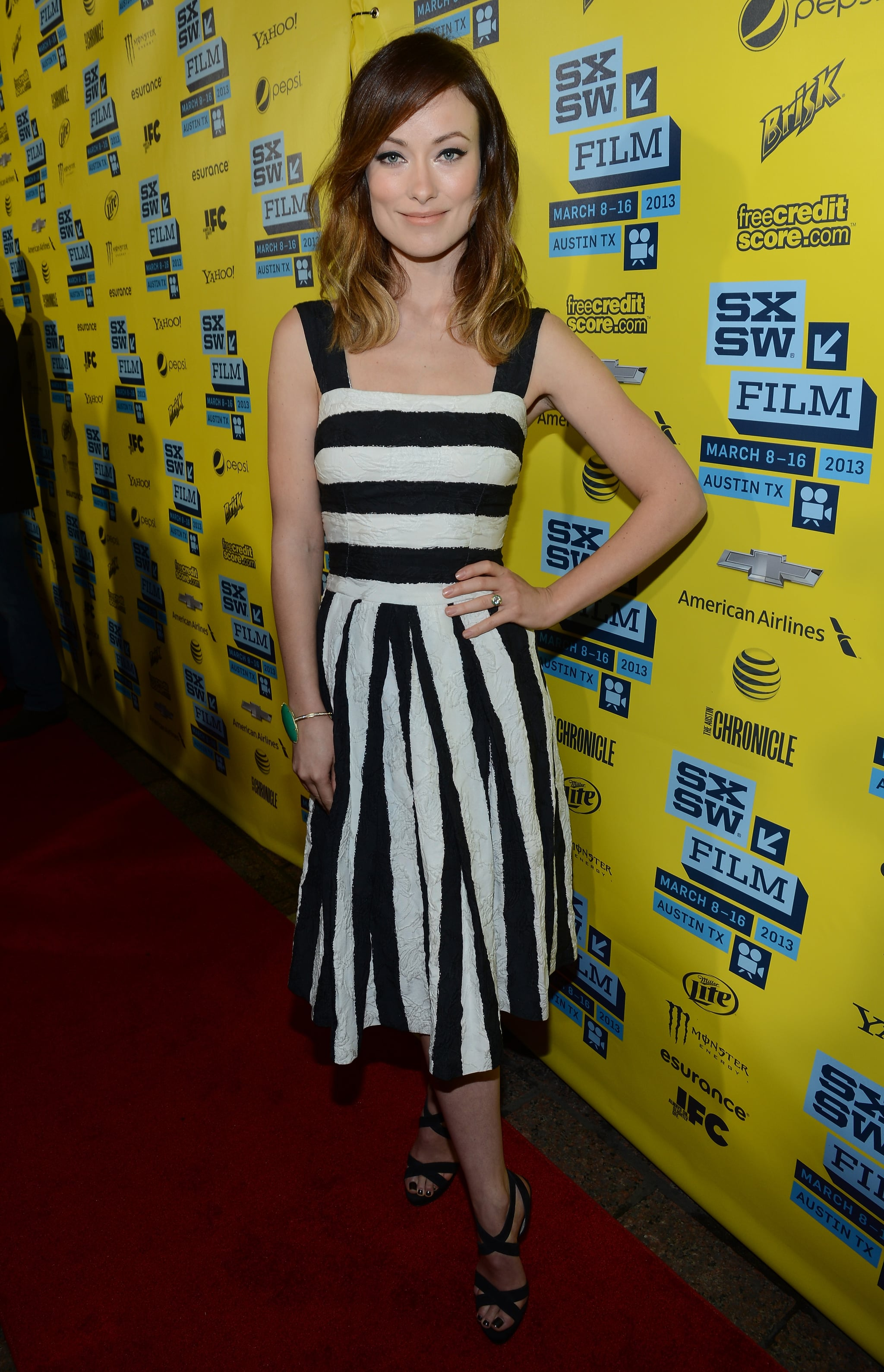 Olivia Wilde wore a striped dress for her The Incredible Burt Wonderstone premiere at SXSW.