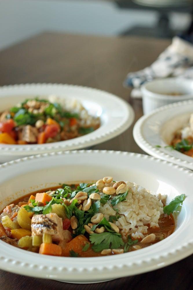 Spicy Peanut Sweet Potato Soup