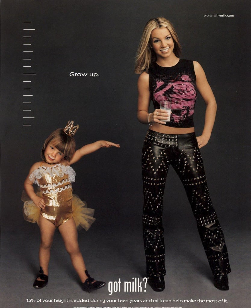 """For a second """"Got Milk?"""" ad, Britney Spears posed alongside her childhood self."""