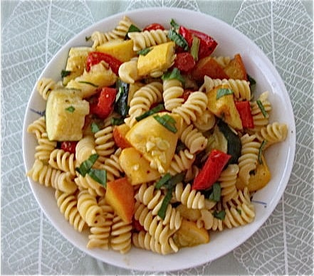 Pasta with Roasted Vegetables and Peaches
