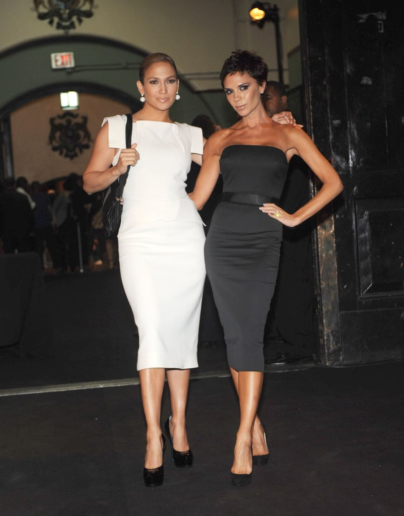 Jennifer Lopez and Victoria Beckham stuck together in February 2008 at the Marc Jacobs show.