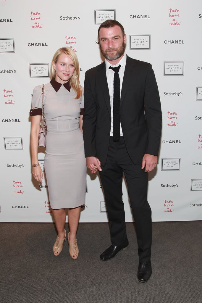 Naomi Watts and Liev Schreiber held hands at the Take Home a Nude art auction in NYC.