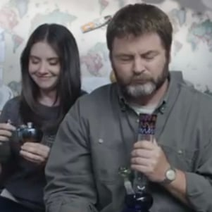 Nick Offerman and Alison Brie Smoking Out of Bongs Video