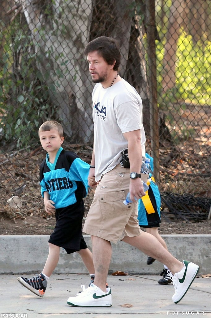 Mark Wahlberg and his son Michael Wahlberg headed over to the field.