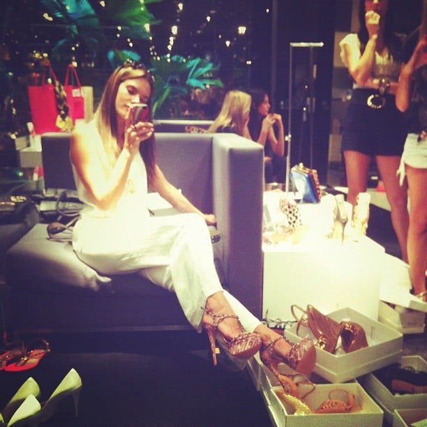 Alessandra Ambrosio tried on shoes — lots of them. Source: Twitter user AngelAlessandra