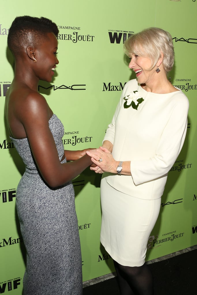 Lupita Nyong'o and Helen Mirren shared a sweet moment at the Women in Film pre-Oscar cocktail party.
