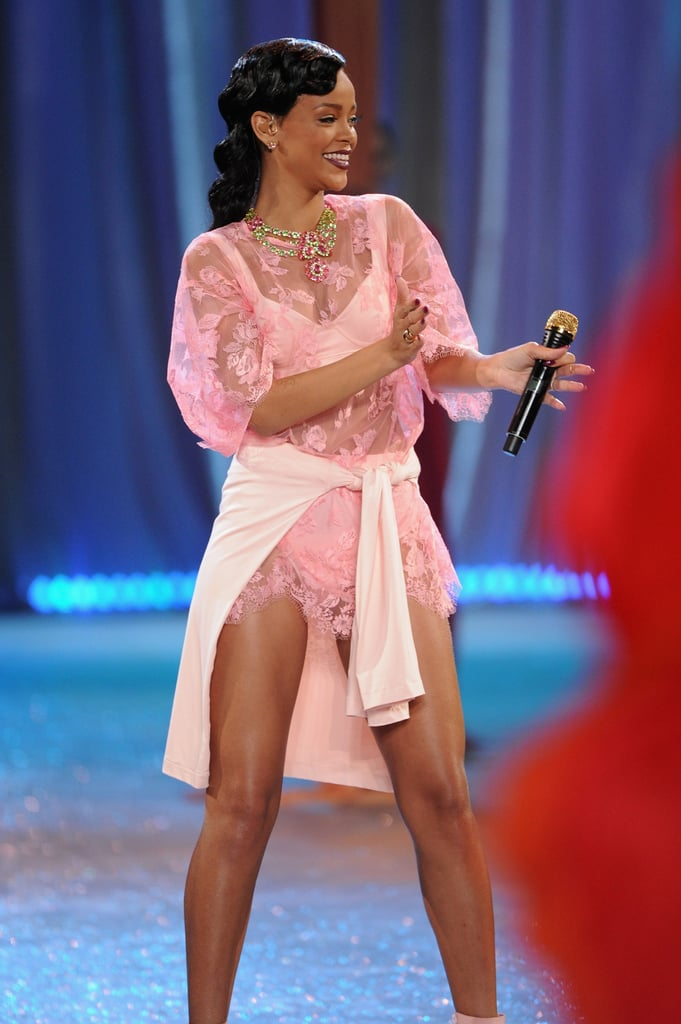 Rihanna wore pink to perform at the Victoria's Secret Fashion Show in NYC.
