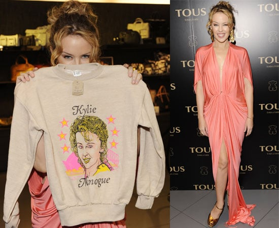 Pictures of Kylie Minogue at Tous Party in London With Mathew Horne and a Jumper With Her Face On It 2010-06-09 05:00:00