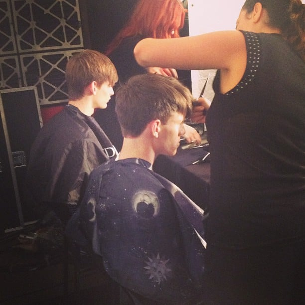 We saw a few male models backstage getting primped at Marc by Marc Jacobs.