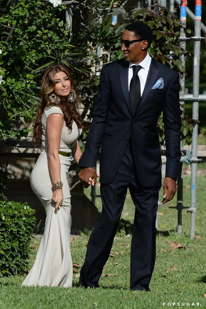 Larsa Pippen and Scottie Pippen were among the guests at Michael Jordan's Palm Beach wedding to Yvette Prieto in April 2013.