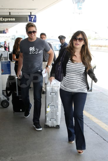Pregnant Lindsay Price travels with her Top Chef boyfriend Curtis Stone.