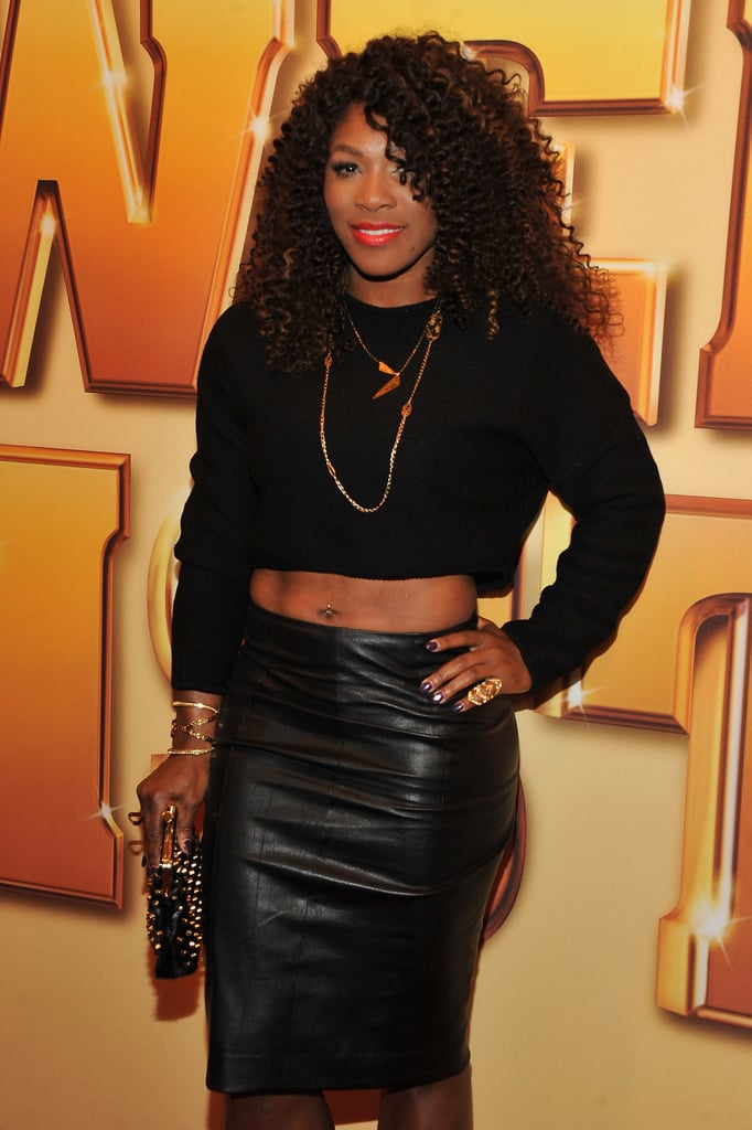 Serena Williams chose a sexy leather skirt and cropped top for the event.