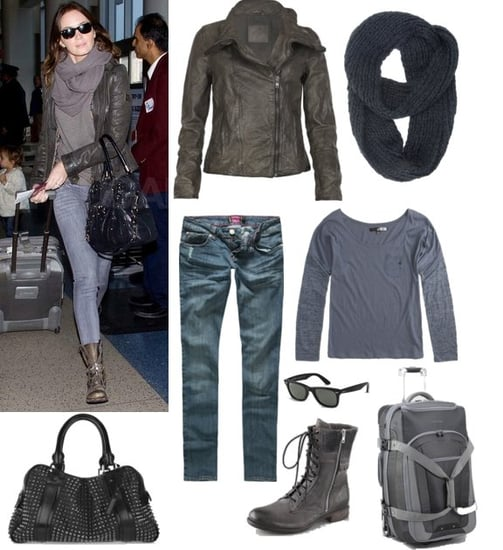 Emily Blunt at the Airport in a Leather Jacket and Snood