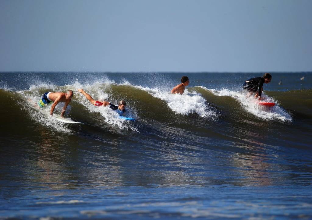 Surfers caught a wave in Long Beach, NY, after Hurricane Cristobal brought big swells to the area.
