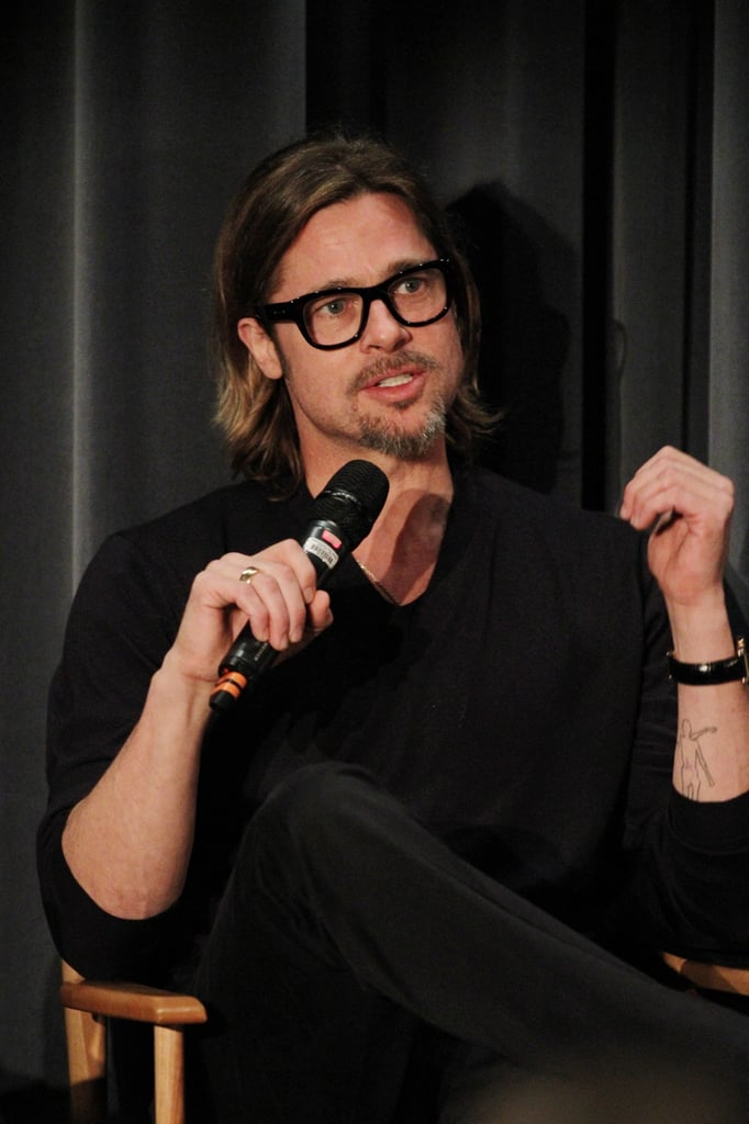 Brad Pitt gave thoughtful answers after a screening of Moneyball.