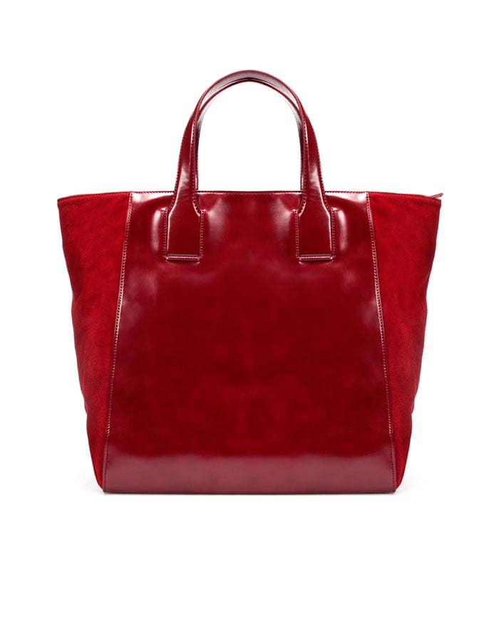 The luxe suede finish and bright, cranberry hue makes this the perfect Fall carry-all.   Zara Suede Combined Shopper ($90)