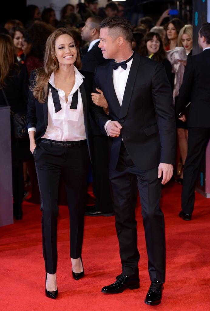 Angelina Jolie and Brad Pitt wore matching tuxedos at the 2014 BAFTAs on Sunday.