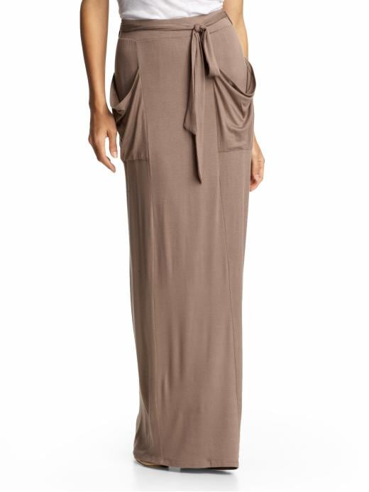 Slouchy pockets add the perfect kind of nonchalance to a fitted tee or cashmere sweater.   Loveappella Pocket Maxi Skirt ($69)