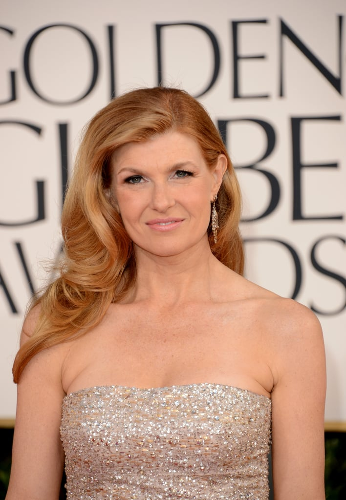 Connie Britton, mom to lil Yoby, arrived at the Golden Globes in a sparkly strapless dress.