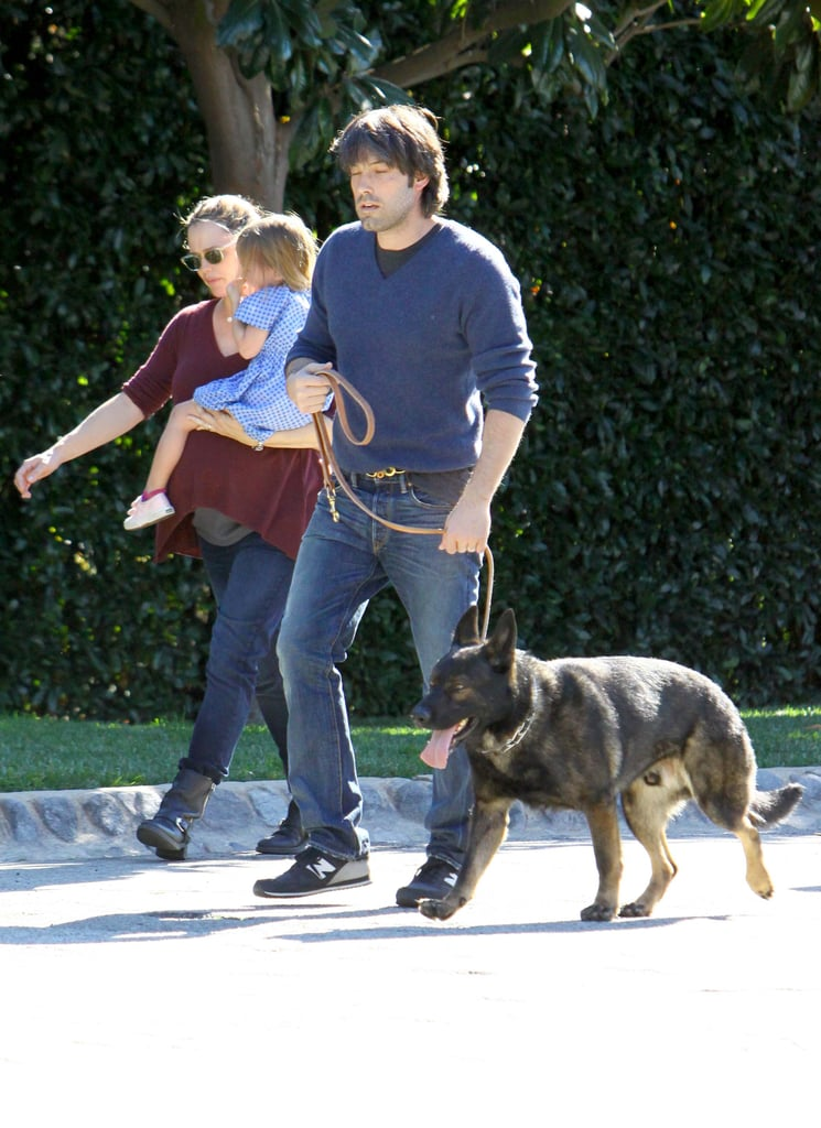 Ben Affleck and Jennifer Garner brought Seraphina Affleck along for a walk with their new dog in January 2012.